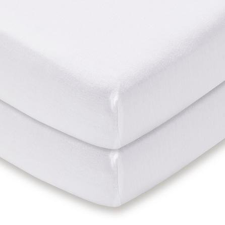 image-Pack of 2 White 100% Cotton Jersey Cot Fitted Sheets White