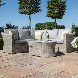 image-Maze Rattan Garden Furniture Oxford Small Corner Sofa Set with Fire Pit Table