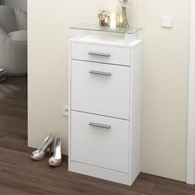 image-Loret V2 8 Pair Shoe Storage Cabinet Vladon Finish: White (matt), Lighting included: Yes