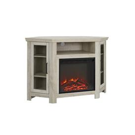 image-Rena Corner TV Stand Brick & Barrow Colour: White Oak