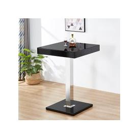 image-Topaz Glass Top Bar Table In Black High Gloss Stainless Steel