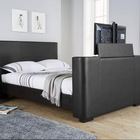 image-Newark Double TV Bed Black Faux Leather