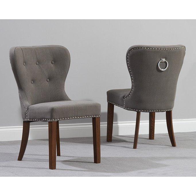 image-Kalim Grey Fabric Dark Wood Dining Chair Pair