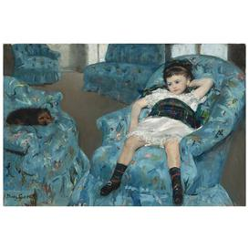 image-'Little Girl in a Blue Armchair' by Mary Cassatt - Wrapped Canvas Painting Print ClassicLiving
