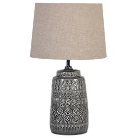image-Grey ceramic table lamp