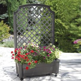 image-Plastic Self-Watering Planter Box with Trellis KHW Colour: Anthracite