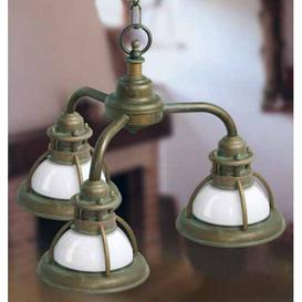 image-Baia 3 Light Outdoor Pendant Moretti Luce Finish: Antique brass, Colour (glass): Green
