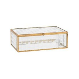 image-Gold Metal and Glass Jewellery Box