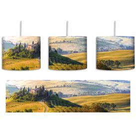 image-Italian Tuscan Landscape 1 Light Drum Pendant East Urban Home Shade Colour: Yellow/Blue/Green