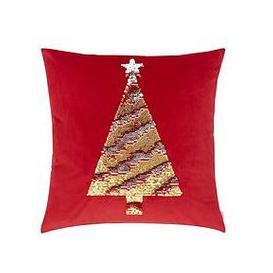 image-Catherine Lansfield Sequin Christmas Tree Cushion