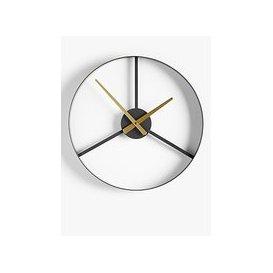 image-John Lewis & Partners Tri-Segment Analogue Wall Clock, 40cm, Gunmetal/Brass