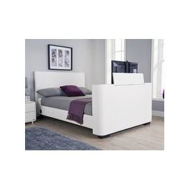 image-Knightsbridge Modern King Size TV Bed In White Faux Leather