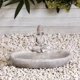 image-Resin Buddha Bird Bath Grey