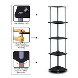 image-Elvin Corner Bookcase Zipcode Design Finish: Black/Grey