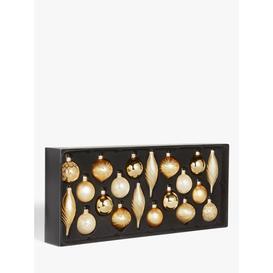 image-John Lewis & Partners Art Nouveau Assorted Decorated Baubles, Box of 20, Gold