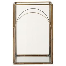 image-Auria Glass/Iron Lantern Lene Bjerre Colour: Light Gold, Size: 23cm H x 16cm W x 16cm D