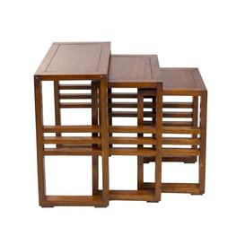 image-Woodmore 3 Piece Nest of Tables Union Rustic Colour: Brown