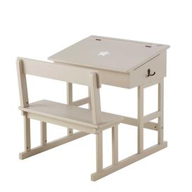 image-Taupe Children's Desk with White Star Print