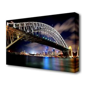 image-'Sydney Harbour Bridge Night Light Reflections' Photograph on Wrapped Canvas East Urban Home Size: 66 cm H x 101.6 cm W