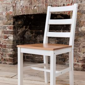 image-Annika Pair of Dining Chairs in Natural Pine & White