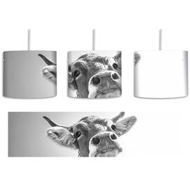 image-Funny Cow Portrait 1-Light Drum Pendant East Urban Home Shade Colour: Black/White