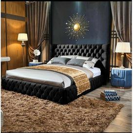 image-Jake Upholstered Bed Frame Willa Arlo Interiors Colour: Black Plush, Size: Small Double (4')