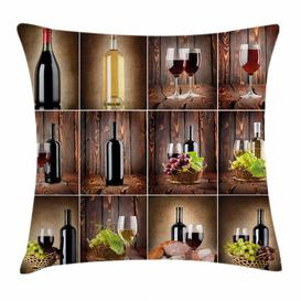 image-Maksymilian Wine Grapes Meat Drink Collage Outdoor Cushion Cover Ebern Designs Size: 40cm H x 40cm W