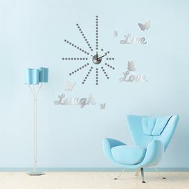 image-Silver Dot Clock with Live Love Laugh Mirror Butterfly Wall Sticker East Urban Home
