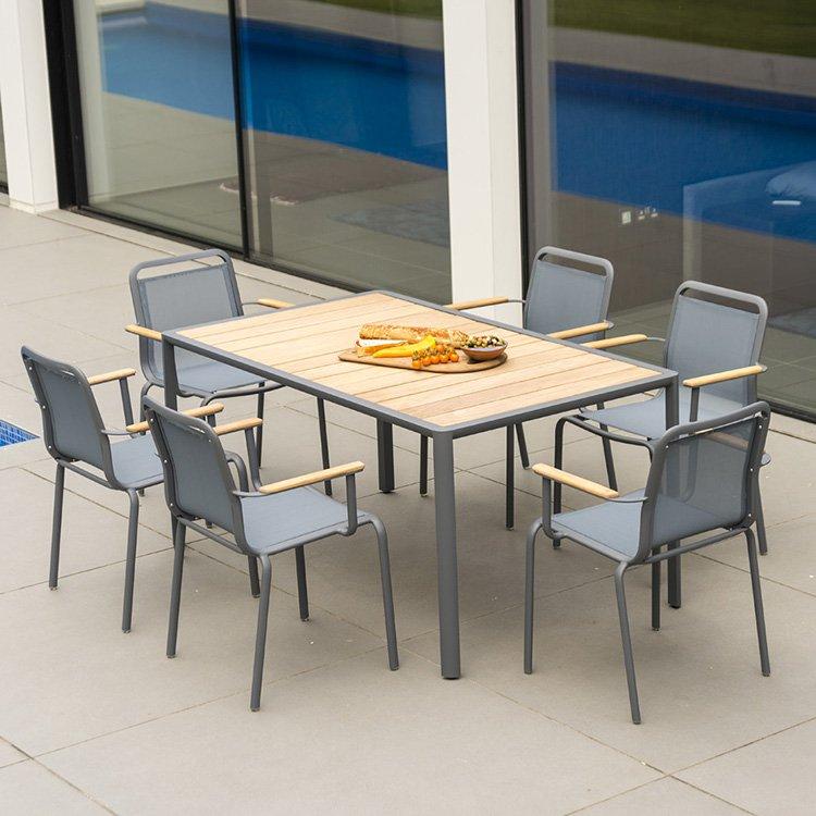 image-Alexander Rose Fresco Garden Flint 6 Sling Armchair & Roble Table