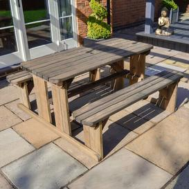 image-Tinwell Picnic Table Sol 72 Outdoor Finish: Rustic Brown, Table Size: 150cm L x 156cm W