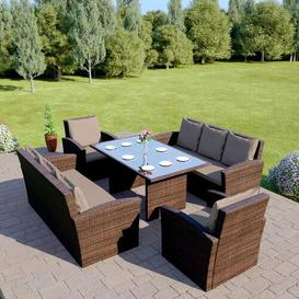 image-Langemark 8 Seater Rattan Sofa Set Sol 72 Outdoor Colour: Mixed Brown/Brown