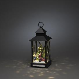 image-Black Small Santa Claus with Child and Christmas Tree Lanterns