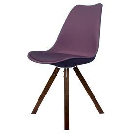 image-Eiffel Inspired Aubergine Purple Plastic Dining Chair - Square Pyramid Dark Wood Legs