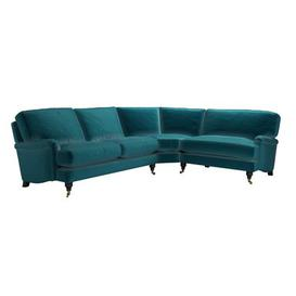 image-Bluebell Asym. Crn: LHF 2.5 Seat w RHF Loveseat in Deep Turquoise Cotton Matt Velvet - sofa.com