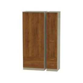image-Buckingham Bali Oak 3 Door Triple Wardrobe - Tall with Drawer