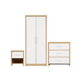 image-Seville Wooden Bedroom Set In White High Gloss