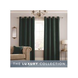 image-Peyton Emerald Eyelet Curtains Emerald (Green)