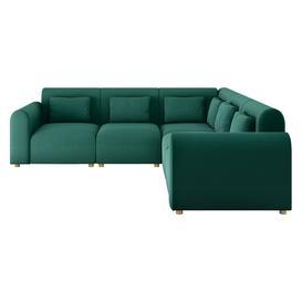 image-Tab Green FaBric 3 Seat Reversible Corner Sofa, Green