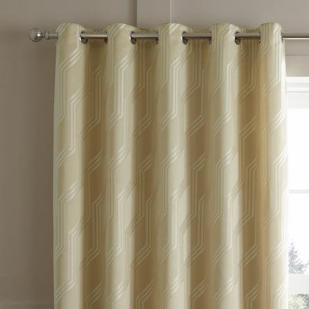 image-Houston Geometric Jacquard Natural Eyelet Curtains Natural