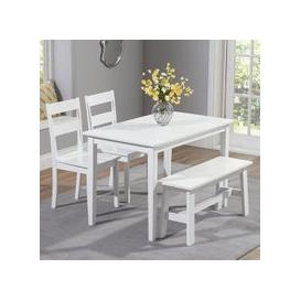 image-Bremen White Dining Set With 2 Chairs And 1 Bench