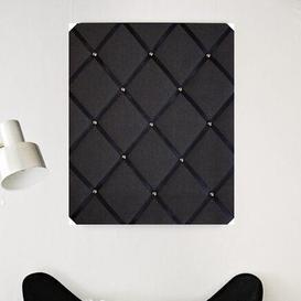 image-Linen Memo Board Fairmont Park Finish: Black/Chrome, Size: 48cm H x 28cm W