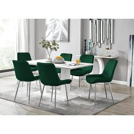 image-Caba Dining Set with 6 Chairs Ivy Bronx Colour (Chair): Green/Silver