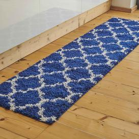image-Navy Moroccan Trellis Shaggy Runner Rug - Florence