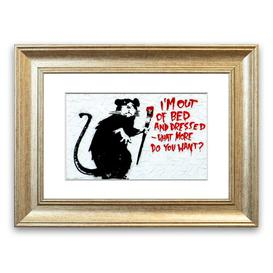image-'I'm Out of Bed and Dressed What More Do You Want Rat' - Picture Frame Graphic Art Print on Paper East Urban Home Size: 70cm H x 93cm W x 1cm D, Frame