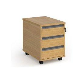 image-Value Line Classic+ 3 Drawer Mobile Pedestal (Graphite Slats), Oak, Free Standard Delivery