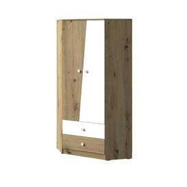 image-Nero NE-02 Corner Wardrobe - 87cm White Matt & Oak Artisan Oak Artisan