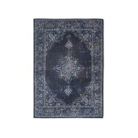 image-Navy Blue & Grey Chenille Distressed Traditional Rug - Louis De Poortere 140x200