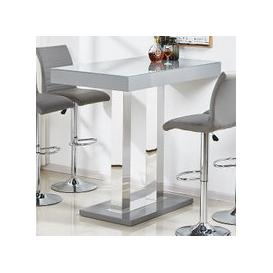 image-Caprice Glass Bar Table In Grey And Stainless Steel Support