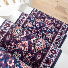 image-Blue Traditional Stair Carpet Runner - Cut to Measure
