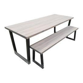 image-Gatling Dining Set with 2 Benches Williston Forge Table Top Colour: Grey, Table Size: 75 x 220 x 80cm, Bench Colour: Grey